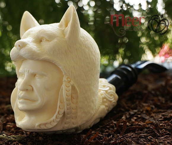Hunter with Wolf head Block Meerschaum Pipe |DIAMOND SERIES