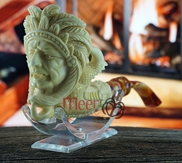 Indian with Claw Block Meerschaum Pipe|Double Stem