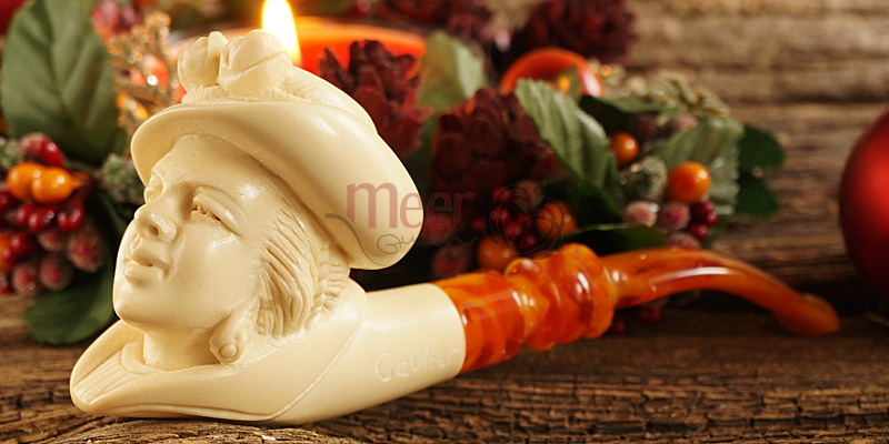 Victorian Lady Meerschaum Pipe by Cevher |GOLDEN SERIES