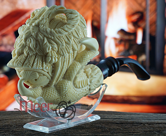 Double Eagle with Claw Block Meerschaum Pipe |Double Stem by Medet |GOLDEN SERIES
