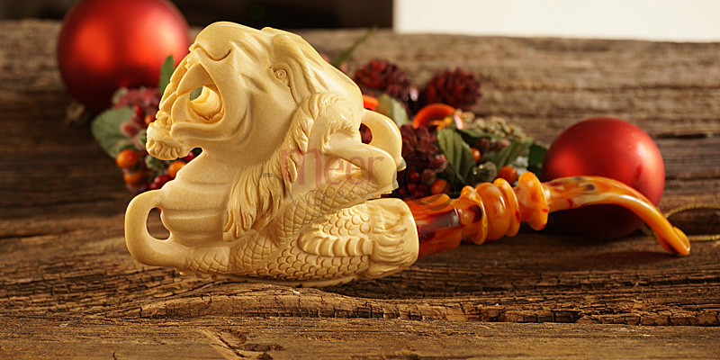 Tiger w Claw Block Meerschaum Pipe|Double Stem by Medet |GOLDEN SERIES