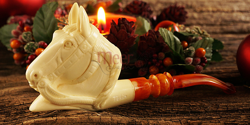 Horse Block Meerschaum Pipe by Tekin |GOLDEN SERIES