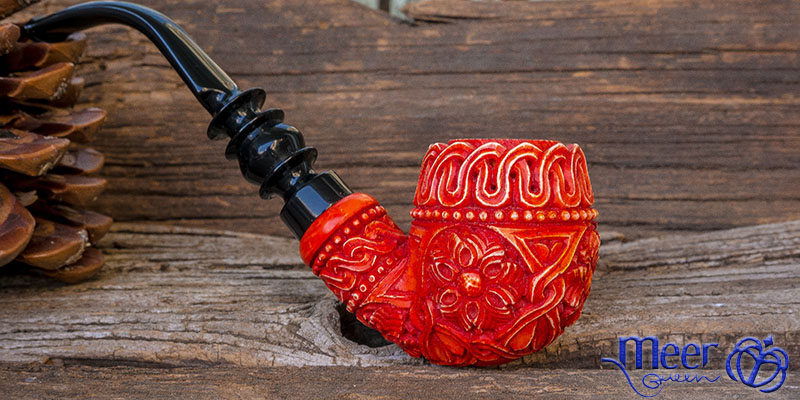 Floral Classic Block Meerschaum Pipe by Tekin |DIAMOND SERIES