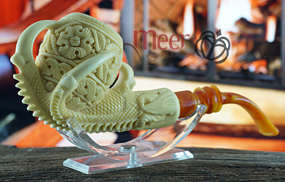 Floral Claw Block Meerschaum Pipe |Double Stem