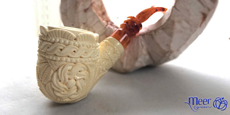 Floral Block Meerschaum Pipe |Golden Series