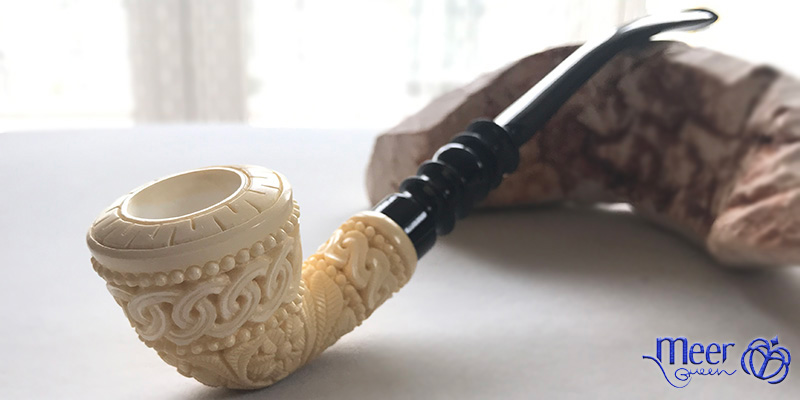 Churchwarden Floral Block Meerschaum Pipe by Tekin |Diamond Series