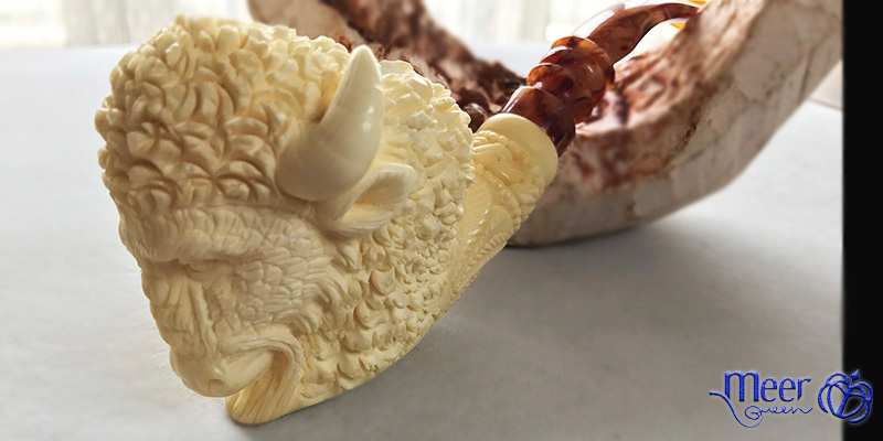Buffalo Block Meerschaum Pipe by Salim |Golden Series