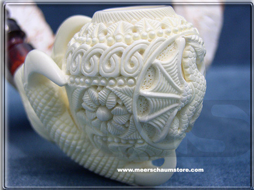 Embossed Dragon with Claw Block Meerschaum Pipe