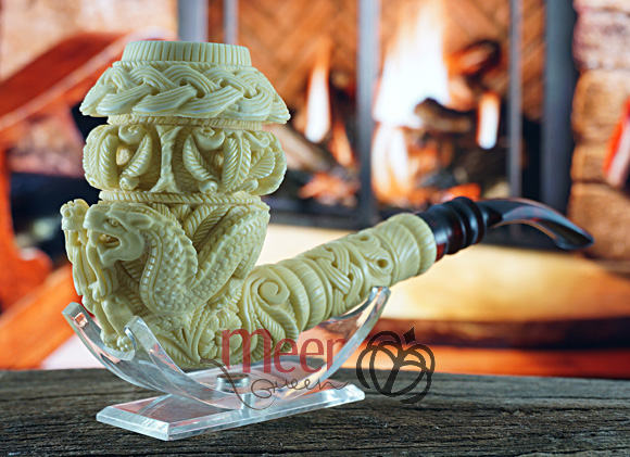 Topkapi Calabash & Double Dragon Block Meerschaum Pipe|Double Stem |GOLDEN SERIES