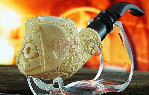 Floral Block with Mason Logo Meerschaum Pipe by Salim |GOLDEN SERIES