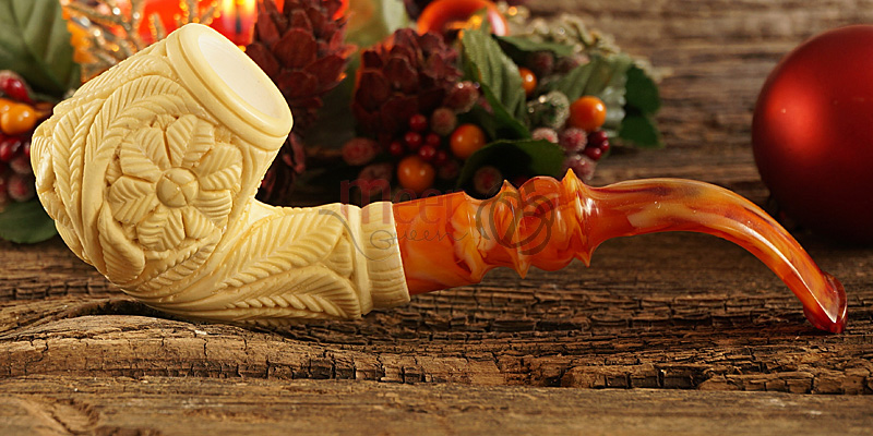 Floral Block Meerschaum Pipe by Medet |Double Stem