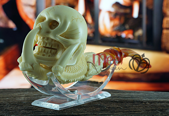 Skull with claw Block Meerschaum Pipe |Double Stem by Medet