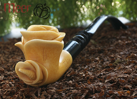 Churchwarden Rose Block Meerschaum Pipe |Double Stem
